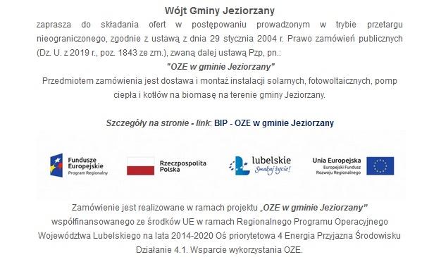 Miniaturka artykułu Ogłoszenie – OZE w gminie Jeziorzany.