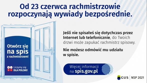 Miniaturka artykułu Narodowy Spis Powszechny Ludności i Mieszkań. Od 23 czerwca wywiady bezpośrednie.